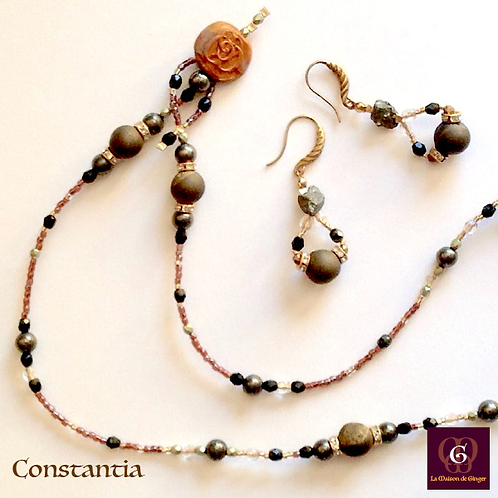Constantia - Set Earrings & Necklace. Pyrite & Agate