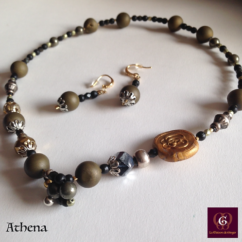 Athena - SET Necklace & Earrings. Galvanized Agate and Pyrite.