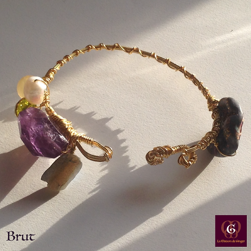 Brut -  Unique Bracelet. Amathyste, Labradorite, Olive Quartz, Pearl