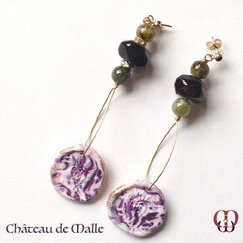 Château de Malle -  Earrings. Garnet Green & Red & Handmade Imprinted Elements