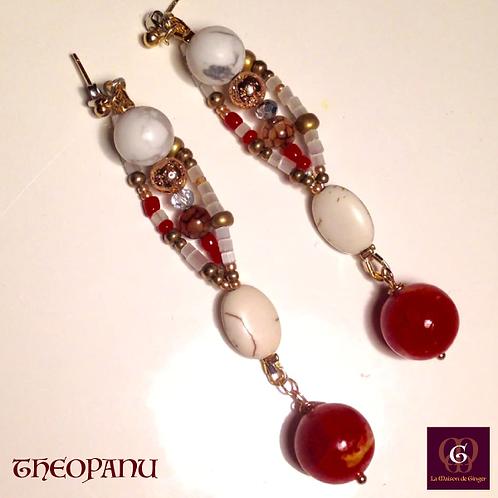 Theopanu - Statement earrings. Coral, Howlite
