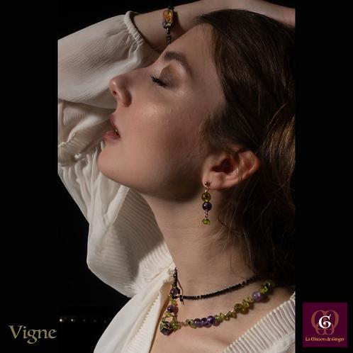 Vigne -  SET Double-Necklace & Earrings. Amethyste, Olive Quartz