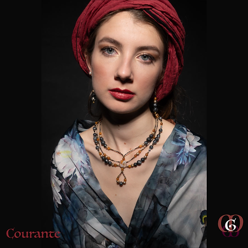 Courante - SET Earrings & Triple-Necklace. Labradorite