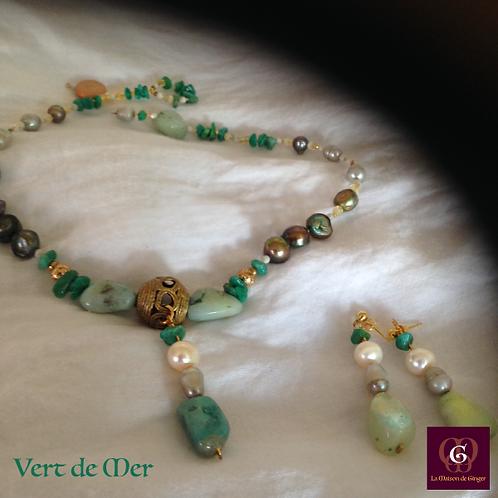 Vert de Mer - SET Earrings & necklace. Amazonite, Pearls, Brass