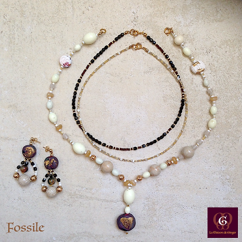 Fossile - SET earrings & 3 necklaces. Chrysanthemum Stones, handmade beads