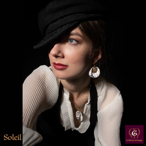 Soleil -  SET Necklace & Earrings. Handmade imprinted beads with 24k gold