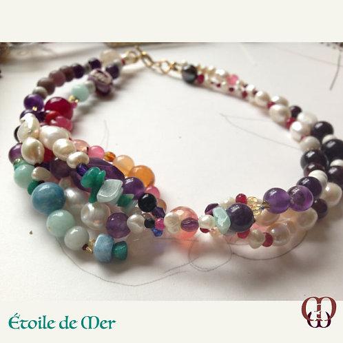 Étoile de Mer. Set necklace & earrings. Pearls, Amethyst, Garnet, Aquamarine...