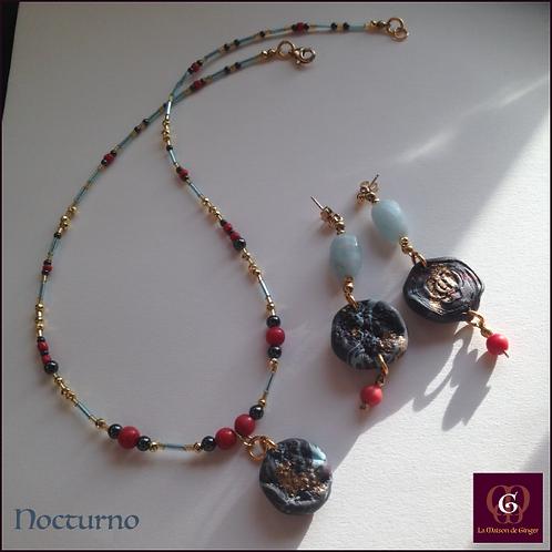 Nocturno -  SET Necklace & Earrings. Aquamarine, Coral, Hematite, Handmade Beads