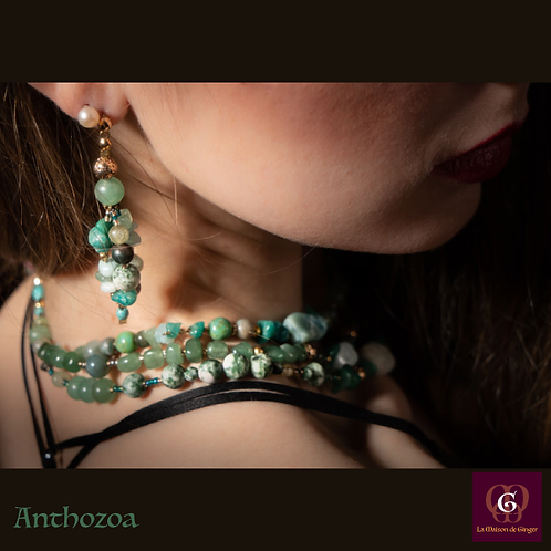 Anthozoa. Set triple-necklace & earrings. Amazonite, Aventurine, Turquoise...