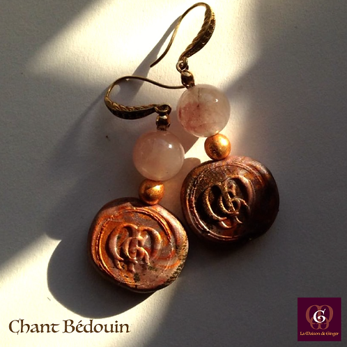 Chant Bédouin - Earrings. Rose Quartz