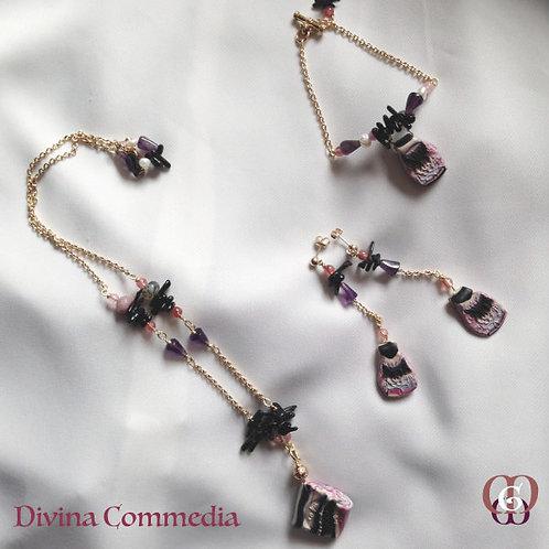 Divina Commedia -  SET Necklace, Bracelet & Earrings. Amethyst, Agate, Quartz...