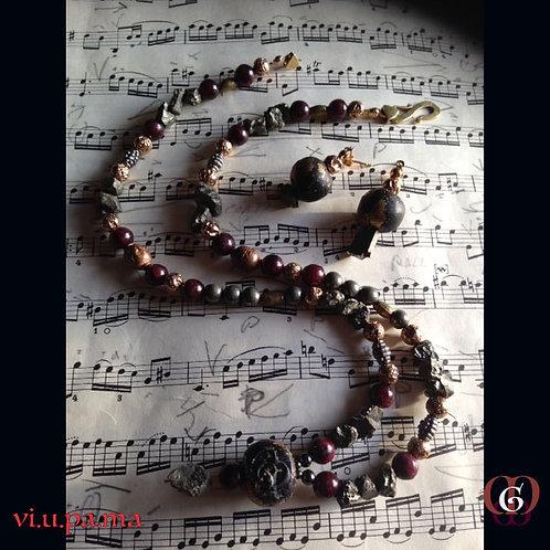 Vi-u-pa-ma. SET Earrings & Necklace. Pyrite,  Garnet, Handmade Elements