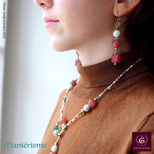 Maniérisme - SET Necklace & Earrings. Howlite & Strawberry Quartz