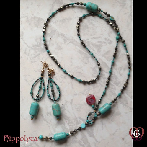 Hippolyta -  SET Necklace & earrings. Turquoise, Pyrite Qua