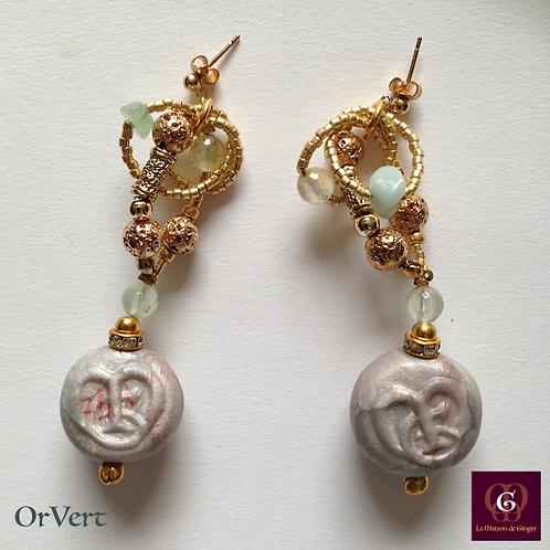 OrVert - Statement Earrings. Prenhite, Aventurine, Volcanic Stones