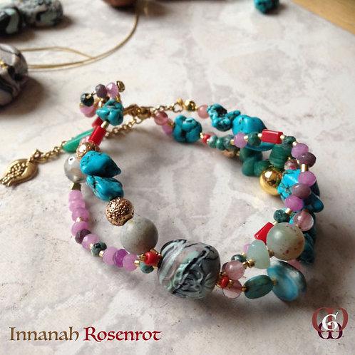 Innanah Rosenrot - Bracelet . Turquoise, Amazonite, Jade, Coral, Quartz...