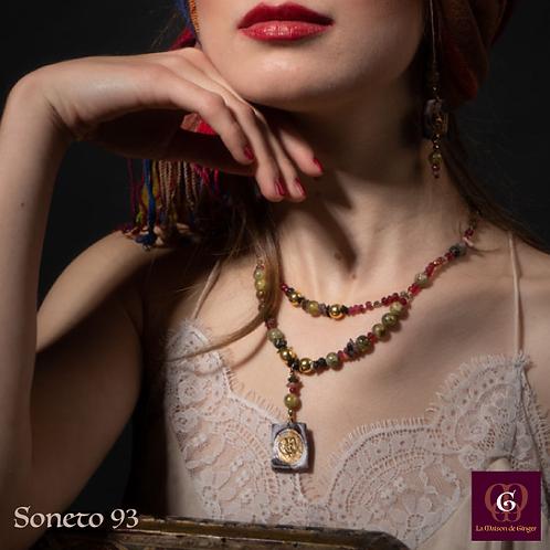 Soneto 93 -  SET Necklace & Earrings. Green Garnet, Jade, Tourmaline