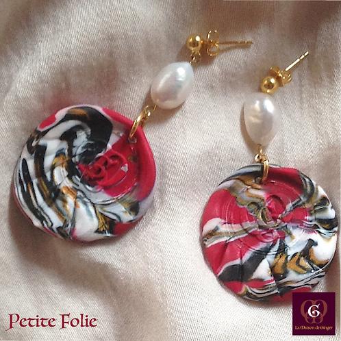 -  Earrings. Petite Folie - Pearls & Handmade imprinted beads
