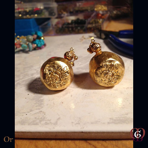 Or - Earrings. Handmade Elements by La Maison de Ginger with 24k Gold-Leave