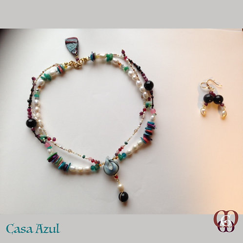 Casa Azul. Set necklace & earrings. Blast of colors, inspiration & gems.