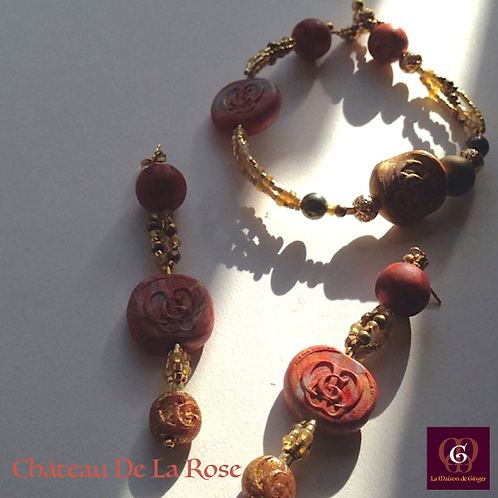 Château de la Rose - Set Earrings & Bracelet. Pyrite & Agate