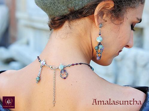 Amalasuntha - SET Necklace & Earrings - Agate, Tiffany Stone & Handmade Beads