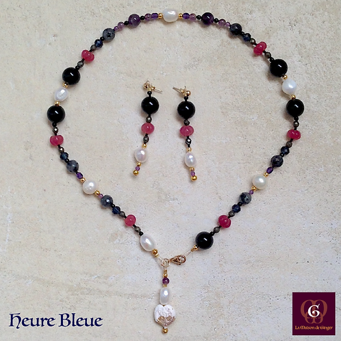 Heure Bleue - SET earrings & necklace. Pearls, Onyx, Labradorite, Pyrite