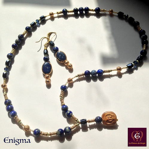 ENIGMA - SET Earrings and Necklace. Lapis Lazuli