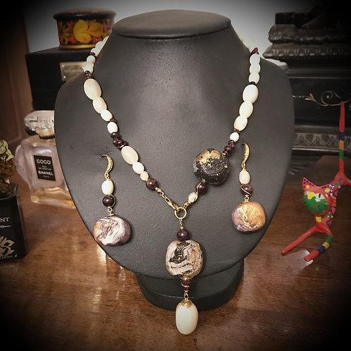 Penelope. SET Earrings & Necklace. Moonstone, Garnet, Handmade Elements