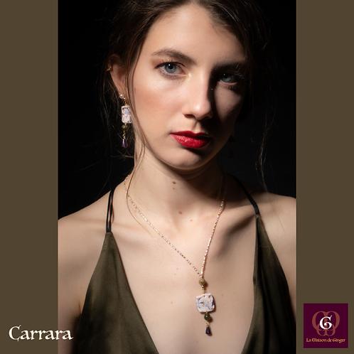 Carrara - SET earrings & necklace.Green Garnet, Amethyste, Unique handmade beads