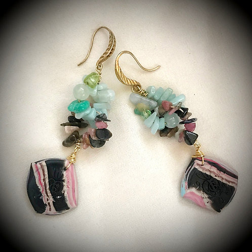 Rosalba. Earrings. Handmade elements by La Maison de Ginger
