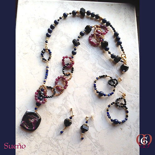 Sueño. SET 4 Earrings & Necklace. Lapiz Lazuli, Ruby- & Black Tourmaline