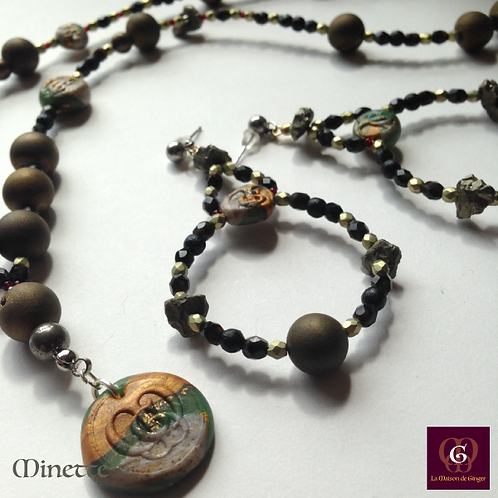 Minette - SET Necklace & Earrings. Galvanized Agate & Pyrite.
