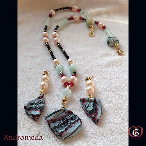 Andromeda. SET Necklace & Earrings. Pearls, Jade, Aquamarine