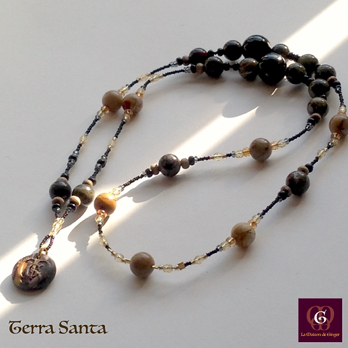 Terra Santa - SET Earrings & Necklace. Jaspis & Agate