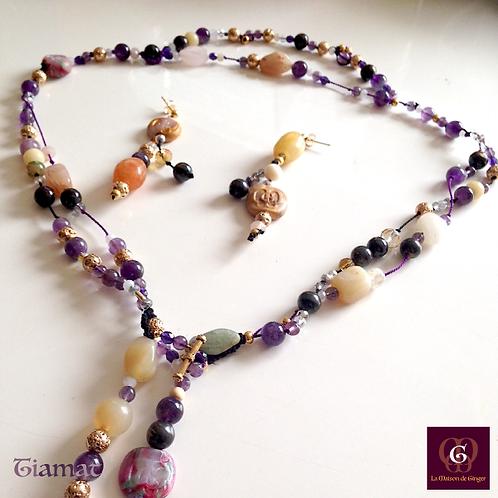 Tiamat - Set earrings & necklace. Amathyste, Calcite, Tigereye, Rose Quartz...