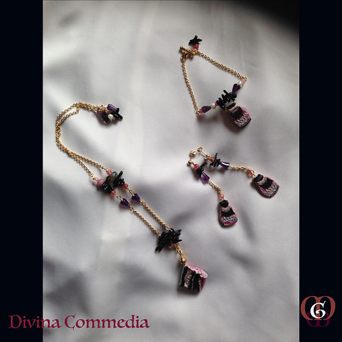 Divina Commedia -  SET Necklace, Bracelet & Earrings. Amethyst, Agate, Quartz...