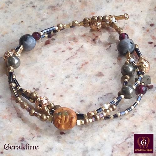 Geraldine - Bracelet. Labradorit, Pyrit, Ruby, Volcanic Stones