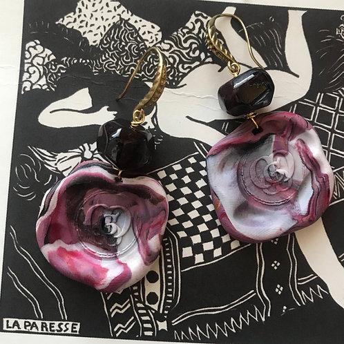 La Paresse. Earrings. Garnet & handmade elements by La Maison de Ginger