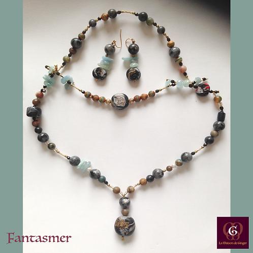 Fantasmer - SET Earrings & necklace. Aquamarine, Labradorite, Jasper, Agate