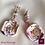 Thumbnail: Rose Sauvage -  Earrings. Turmalines & Handmade imprinted beads with 24k gold