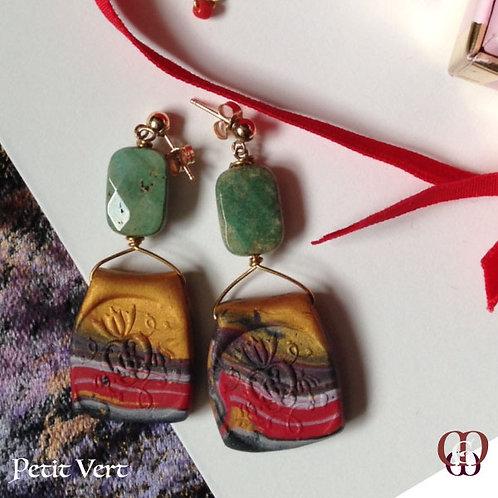 Petit Vert -  Earrings. Chrysocolla, Handmade Imprinted Elements