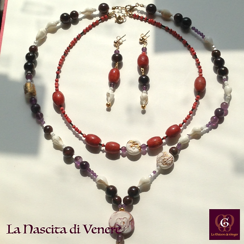 La Nascita di Venere- SET Earrings & 2 necklaces. Coral, Amethyste, Granat