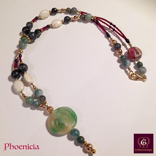 Phoenicia - Necklace. Labradorite, Agate, Howlithe, Volcanic Stones Galvanized
