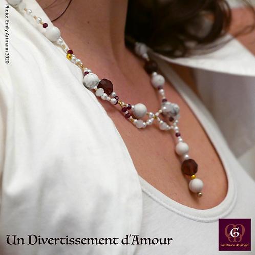 Un Divertissement d'Amour  - SET Necklace & Earrings. Howlite & Crystals