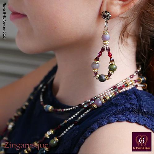Zingaresque - SET. 3 Necklaces & Earrings. Jaspis, Agate, Sapphire & Bertrandite