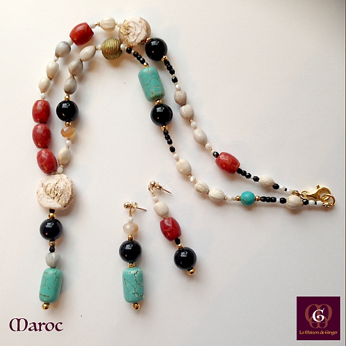 Maroc - Turquoise, Coral, Onyx, African Beads