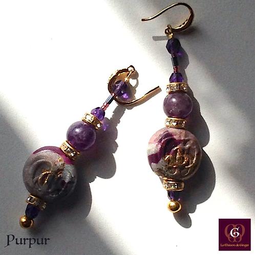 Purpur - Earrings. Amethyste