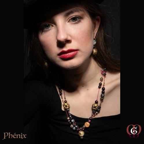 Phénix - Set earrings & necklace. Garnet, Labradorite, Brass