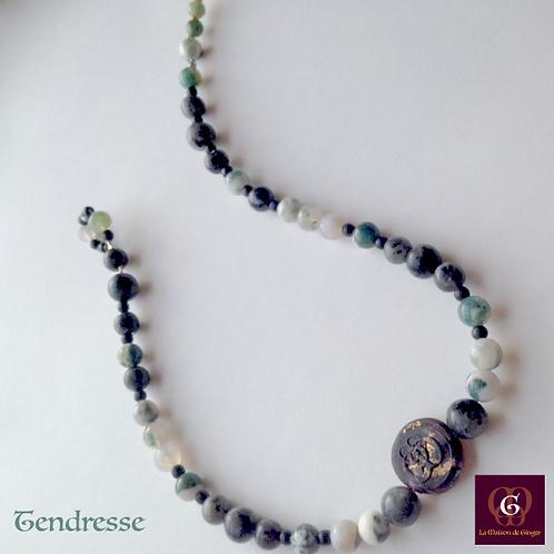 TENDRESSE - SET Necklace & Earrings. Tree Agate & Labradorite